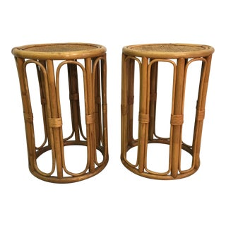 Rattan & Caned Round Side Tables - A Pair