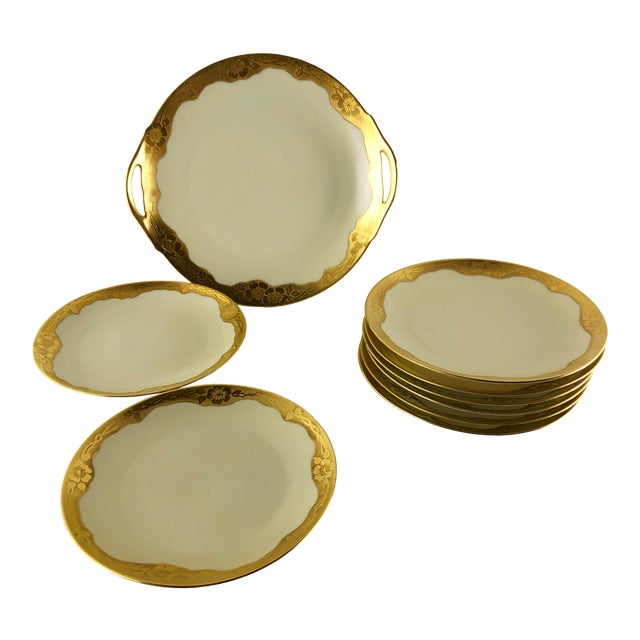 Art Nouveau Bone China Gilded Poppy Motif Dessert Set by Thomas - Set of 9 For Sale