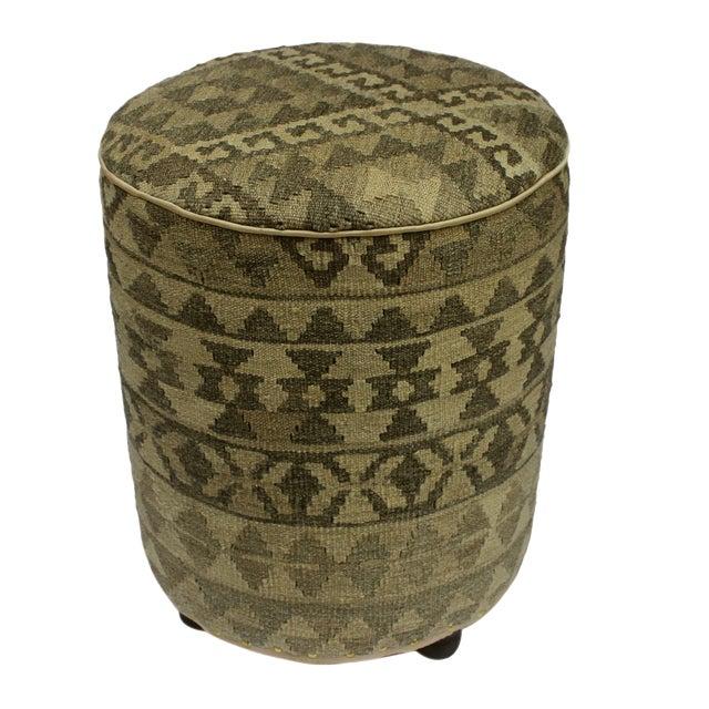 Arshs Deana Lt. Gray/Drk. Gray Kilim Upholstered Handmade Ottoman For Sale