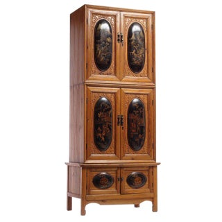 Tall Quing Dynasty Wood Cabinet With Chinoiserie Panels From China, 19th Century For Sale
