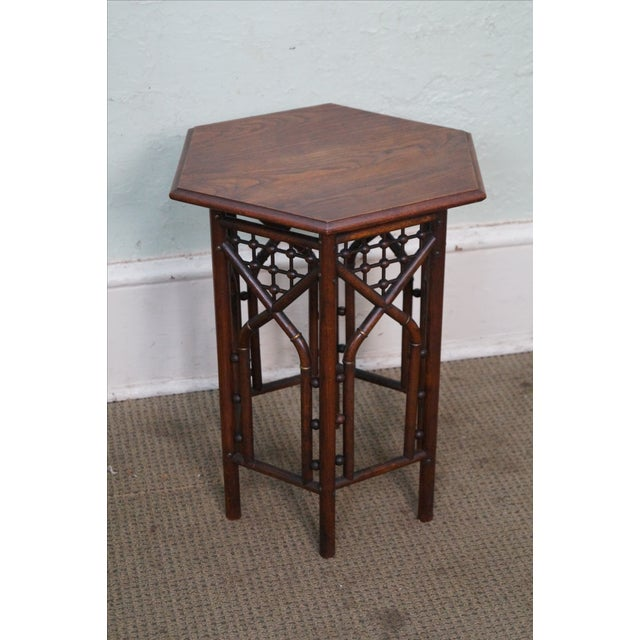 Antique Oak Stick & Ball Hexagon Taboret Plant Stand For Sale - Image 4 of 10