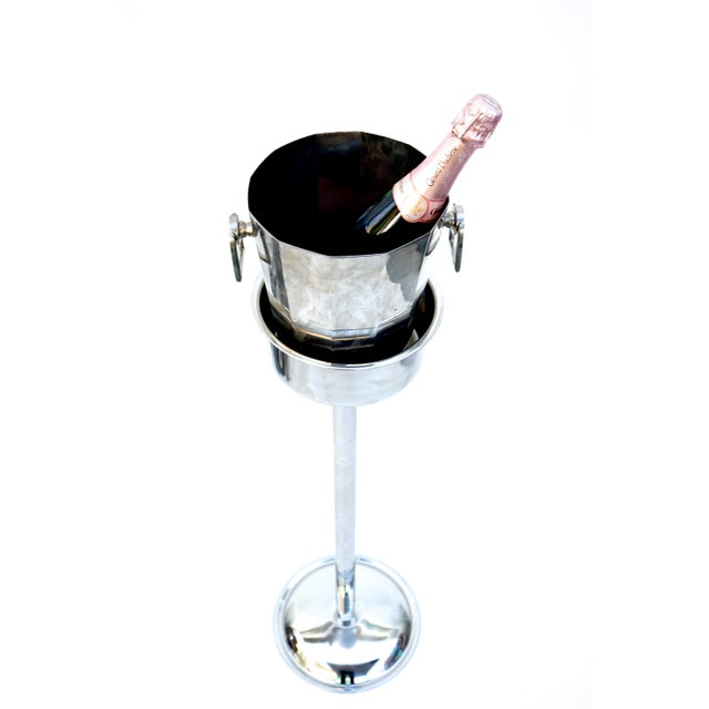 Art Deco Silver Geometric Champagne Chiller & Stand - Image 3 of 10