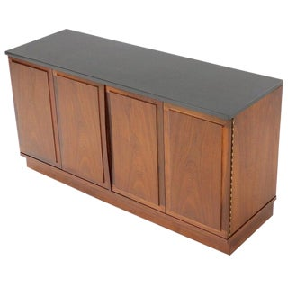 Mid-Century Modern Slate Top Petit Oiled Walnut Credenza Cabinet For Sale