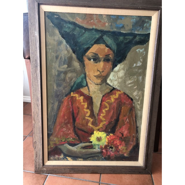 1960s painting on board beautiful This piece still in great condition vibrant color