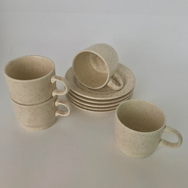 Homer Laughlin Mid-Century Modern Coffee Cups & Plates - Set of 4 - Image 3 of 6
