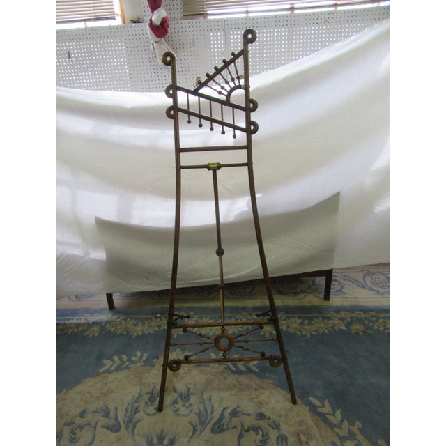 Metal Antique Arts and Crafts Oak Wood Easel With Brass Accents For Sale - Image 7 of 7