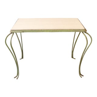 Green Painted Coffee Table With Faux Shagreen Top For Sale