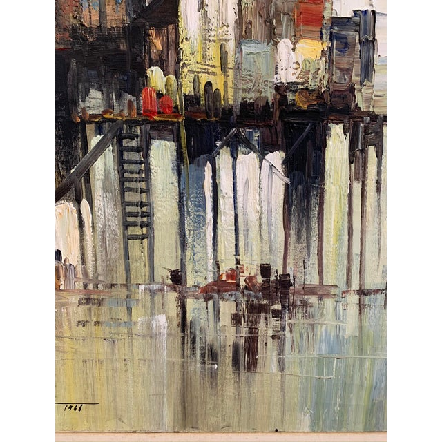 """Canvas 1966 """"Houses on Stilts"""" Oil Painting For Sale - Image 7 of 9"""