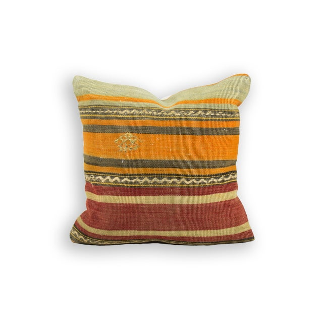 Aged Vintage Kilim Pillow - Image 2 of 3
