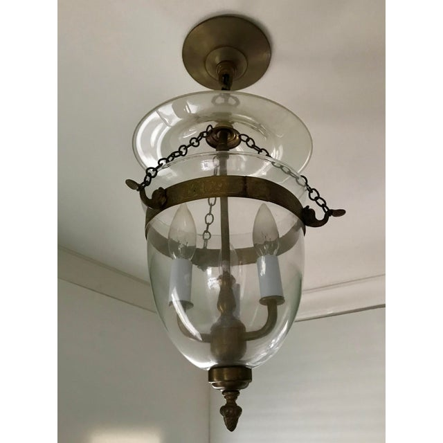 English Set of 3, Clear Glass and Brass Bell Jar, Three Candle, Light Fixture For Sale - Image 3 of 12