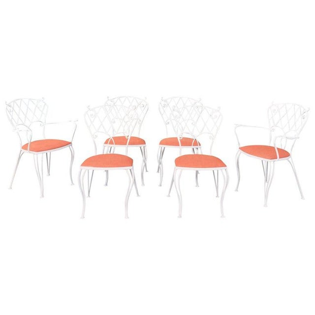 Mid Century Wrought Iron Patio Garden Dining Chair Set- 6 Pieces For Sale - Image 9 of 9