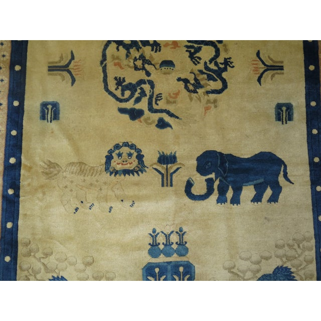 Antique Chinese Pictorial Elephant Rug, 4'9'' X 7'8'' For Sale - Image 4 of 13