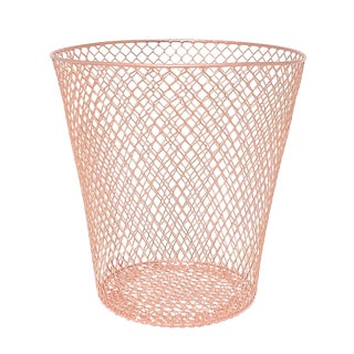 Rose Gold Copper Wire Metal Waste Basket For Sale