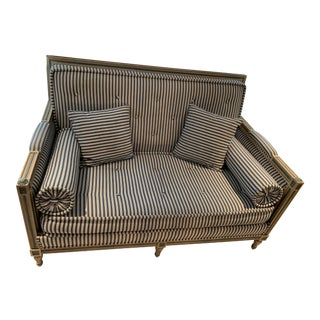 Antique Blue & White Striped Loveseat For Sale