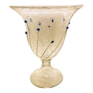 Rare Licio Zanetti Footed Bowl With Cobalt Bead Appliqué