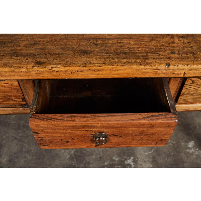 19th C. Chinese Elm Four Drawer Altar Table For Sale - Image 9 of 10