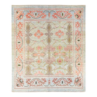 Modern Oushak Handmade Floral Blue and Green Wool Rug For Sale