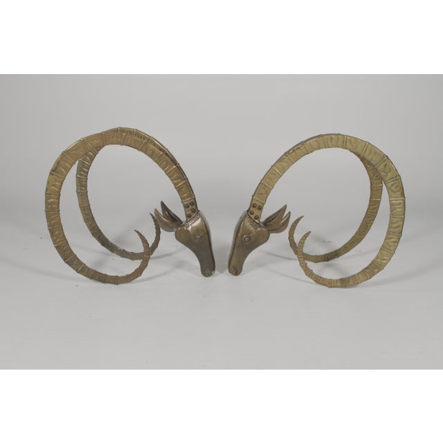 Brass 1960s Vintage Cast Brass Ibex Ram Head Table Bases - A Pair For Sale - Image 7 of 7