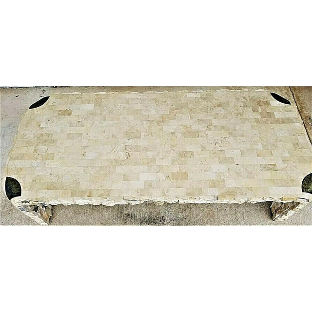 1980s Maitland Smith Tessellated Mactan Stone + Brass Coffee Table For Sale In Miami - Image 6 of 10