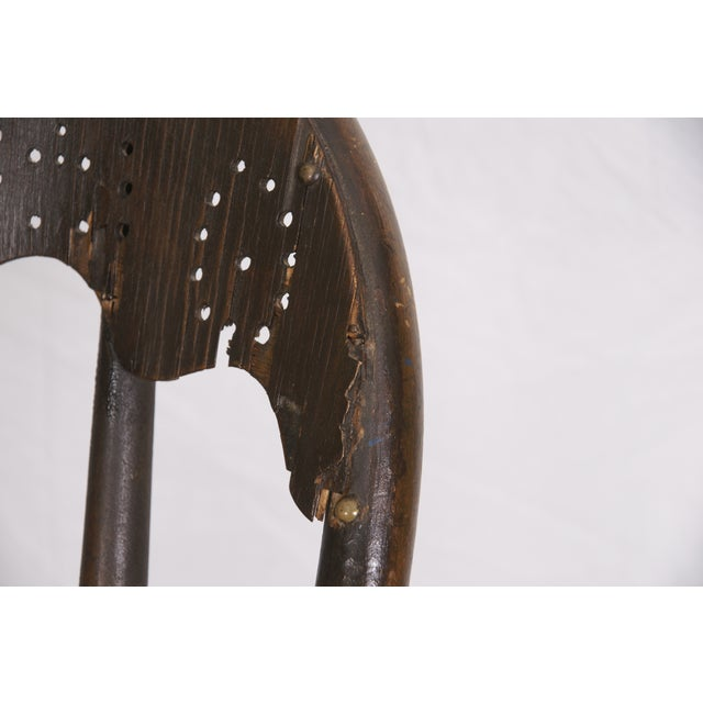 Windsor Chair Tooled Leather Seat Pierced Bib - Image 4 of 6