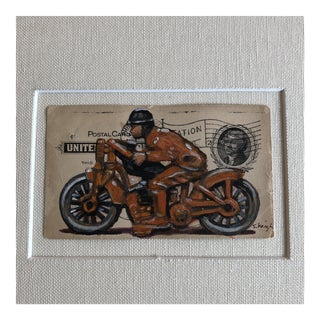 Original Painting Toy Motorcycle by Philadelphia Illustrator Stephen Heigh For Sale