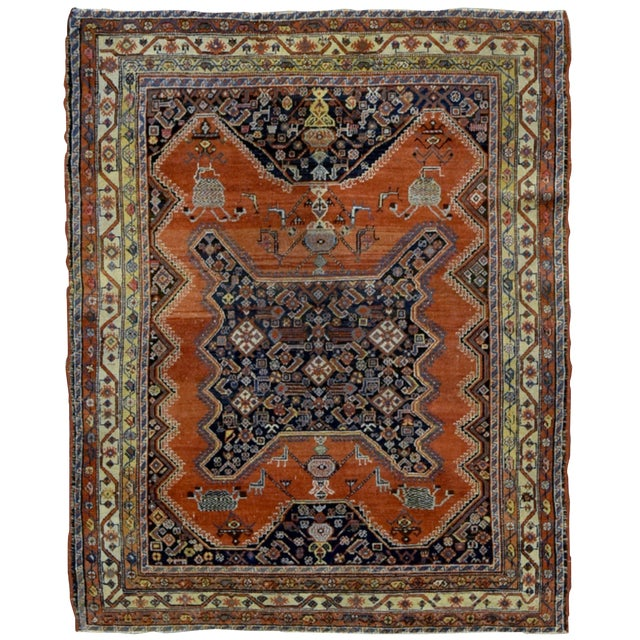 "1900s Handmade Antique Persian Mishan Malayer Rug - 4'9"" X 6' For Sale"