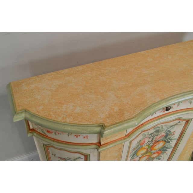 Cream Italian Hand Painted Narrow Serpentine Console Cabinet For Sale - Image 8 of 13