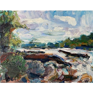 Abstract Expressionist Original Oil Painting by Rebecca Dvorak, James River Rapids For Sale