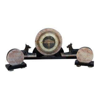 Art Deco French Figural Mantel Clock With Two Garnitures - 3 Piece Set For Sale