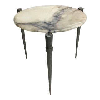 Pair of French Modernist Steel and Alabaster Side Tables, circa 1950
