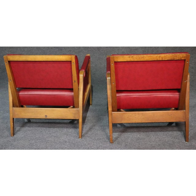 Mid-Century Modern Tiger Maple Lounge Chairs - a Pair For Sale - Image 9 of 10