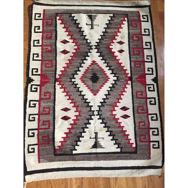 Vintage Navajo Style Wool Hand Knotted Rug