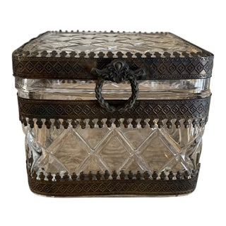 Antique Quilted Glass Hinged Casket Box For Sale