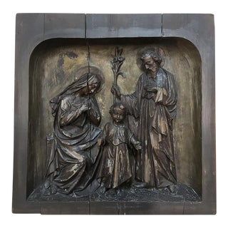 19th Century Carved Panel of the Holy Family For Sale