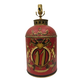 Hand-Painted Red, Gold and Black Tea Tin Lamp For Sale