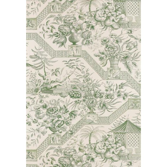 2000 - 2009 Schumacher Wallpaper Colonial Williamsburg Collection Asian Toile in Jade Green Double Roll For Sale - Image 5 of 5