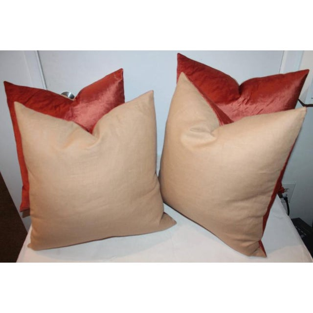 American Classical Silky Coral Velvet Pillows, Pair For Sale - Image 3 of 5