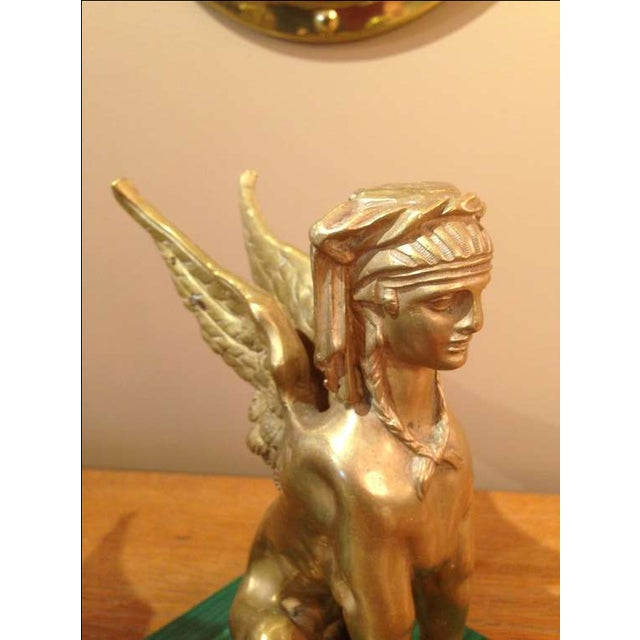 Pair of Antique Egyptian Sphinx Sculptures For Sale - Image 4 of 7