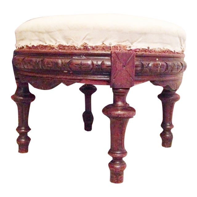 Antique Spanish Baroque-Style Ottoman - Image 1 of 3