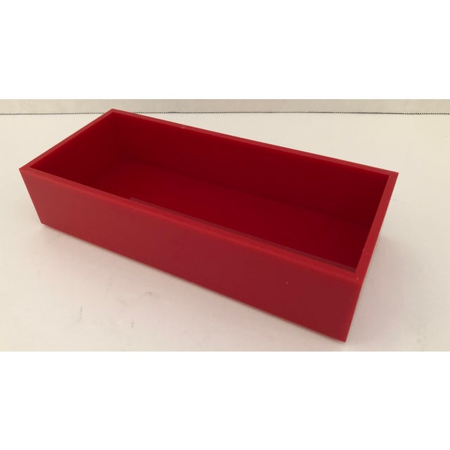Alessandro Albrizzi Alessandro Albrizzi Signed Mid-Century Red & Clear Lucite Box For Sale - Image 4 of 6