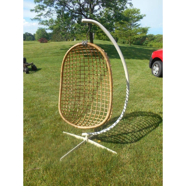 1960s Mid-Century Modern Rattan Hanging Egg Chair For Sale - Image 5 of 5