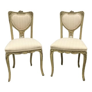 French Art Nouveau Sweetheart Chairs - A Pair