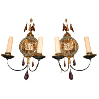 Caldwell Mirrored Brass Sconces - a Pair For Sale