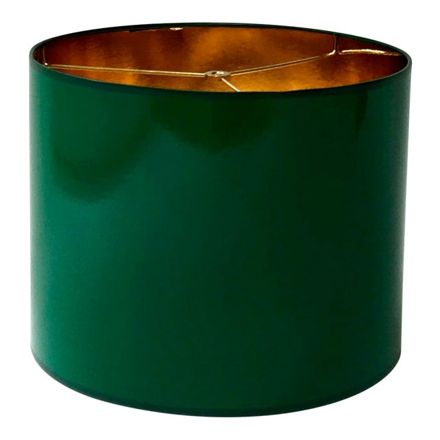 Large High Gloss Dark Green Drum Lamp Shade With Gold Lining For Sale