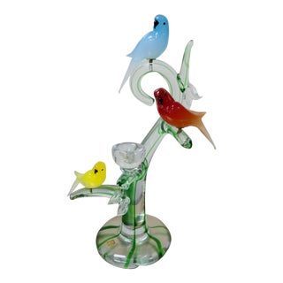 Zanetti Murano Glass Sculpture of Birds With Nest on Perch For Sale