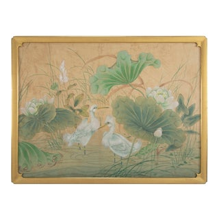 Chinese Painting of Egrets and Lotus Flowers, Large-Scale For Sale