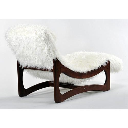 White Mongolian Faux Fur Chaise Lounge - Image 4 of 6