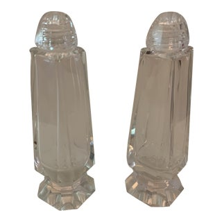 Mid-Century Modern Facet-Cut Glass Salt & Pepper Shakers For Sale