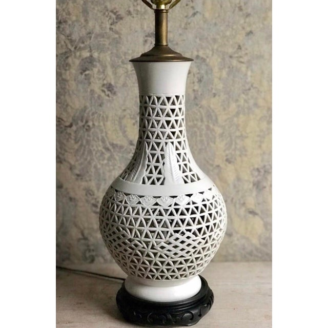 Mid-Century Blanc De Chine Ceramic Pierce Work Urn Table Lamp For Sale - Image 11 of 12