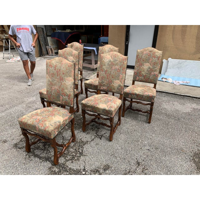 1900s Vintage French Louis XIII Style Os De Mouton Dining Chairs - Set of 6 For Sale In Miami - Image 6 of 12